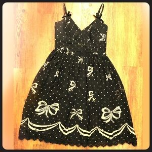 Shoshanna Black Bow Lace Chiffon Babydoll Dress